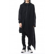 W Knitted Hooded Dress-Black-S