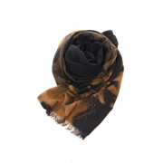Dahlia Grilled Stole Wool Discharge - DV-L12-104-Black-Free