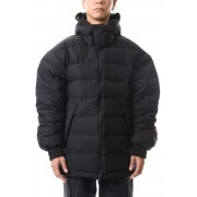 Seamless down Hooded jacket-Black-XS