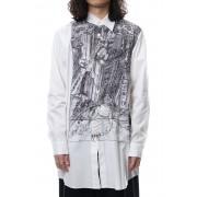 Neck Cutting Shirt Ghost In The Shell - Ground Y-White-3