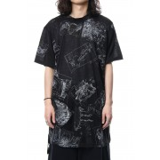 Uneven short sleeve Cut-Sew Ghost In The Shell - Ground Y-Black-3