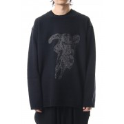 Embroidery 5G Round Neck Knit-Black-3