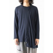 Oblique Panel Long Sleeve-Navy-1