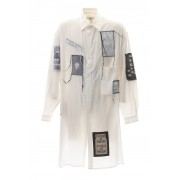 Ring Sewing Broadcloth Patchwork Shirt-White-2