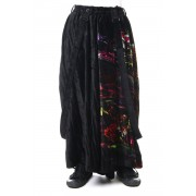 Print Twist Crotch Pants-Black-2