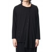 Diagonal Switch Long Sleeve Tee-Black-1