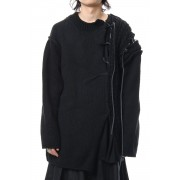 Leather Lace Seam Grafting Knit-Black-3