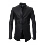Cow Hide Draping Leather jacket RB-029 Black-Black-3