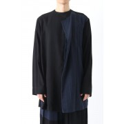 Left Front Double Layer Shirt-Black-2
