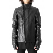 Gloved Twisted Sleeve Calf Leather Jacket-Black-1