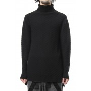 5GG Wool Cotton Long Knit RB-041-Black-4