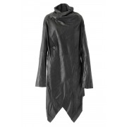 Goat Kid Ultra Light Leather Coat - L01-H01-Black-2