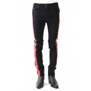 EX FIT DENIM SKINNY SIDE STRIPE RUBBER-Black × Red-M