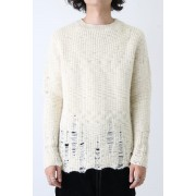 Oversized Distressed Knit-Off White-44