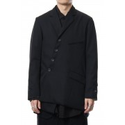 Wool gabardine jacket-Black-1