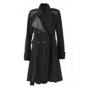 Hooded Trench coat Coat - ag-1017-1-Black-38