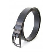 Double Buckle Leather Belt-Black-1