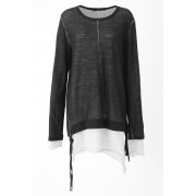 Layered Long Top - AL-1270-Black x White-1