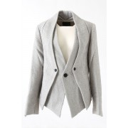 Linen Cotton Paper Tweed Layered Jacket - DK11-10-J02 - divka-Light Gray-2