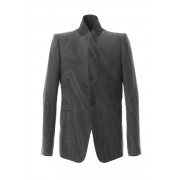 Suminagashi-dyed Linen High-Neck Tailor JKT-Charcoal-1