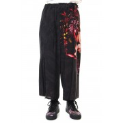 Gather Drawstring Pants Print A-Black-2