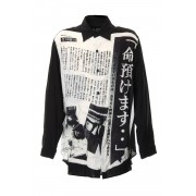 命預けます Print Blouse-Black-2