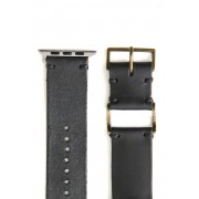 Apple Watch Band - Guidi Calf Revers Leather - Brass Type 1-Leather. Black | Buckle. Brass |  Parts. Silver-38