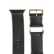 Apple Watch Band - Guidi Calf Revers Leather - Brass Type 1-Leather. Black | Buckle. Brass |  Parts. S.Gray-38