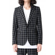 CHECK JACKET-Black-S