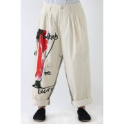 Right Side Cut Women Motif Pants-Ivory-2
