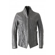 Layered Neck Leather Jacket-Black-1