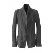 Sumi Dyed Linen Tailored Jacket-Charcoal-1