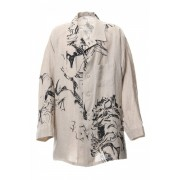 Yoke Sleeve Hemp Pattern Jacket -Beige-1