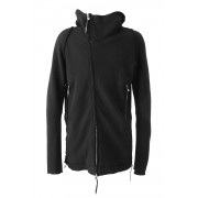 Bonding jersey Zip Up Parka-Black-1