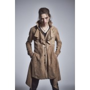 Frill Leather Long Shirts-Beige-S