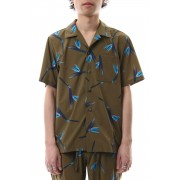 T400 Stretch Tafta Print Open Collared Shirt S/S X.Brown-X.Brown-1
