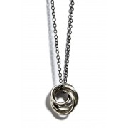 Necklace Four Rings-Silver-Free