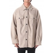 LEATHER TAG SHIRTS JACKET GRAY BEUGE-Gray Beige-FREE