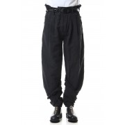 2 TUCKS PANTS-Black-1
