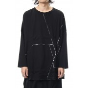 Crack print reversible Long Sleeve T-shirt - NV-T57-073-Black-2
