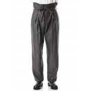Wool Twill High West Pants - PA83-LW4-Gray Black-0