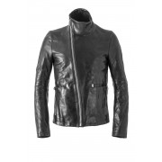 Horse Leather Highneck Jacket-Black-1