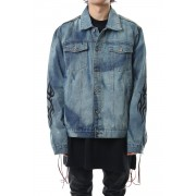 PAINT DENIM JACKET-Indigo-L