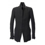 Rough leather x linen tailored Jacket - ST104-0029S-Black-1