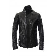 High-necked leather jacket - ST105-0019S-Black-1