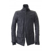 Horse leather High neck jacket - ST105-0059A-Charcoal-1