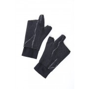 Pure cashmere needle punch fingerless glove-Black-Free