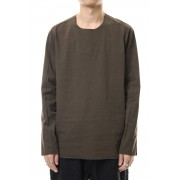 Paint Cotton L/S T-shirts-Khaki-Free