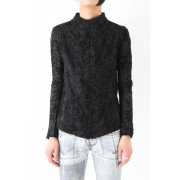 17SS Flocky bonded transparent black jacket-BLACK-1