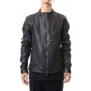 Calf Single Biker Jacket -Black-2